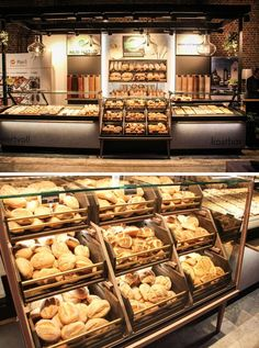 Group video chat with your friends. Bakery Shop Interior, Bakery Shop Design, Coffee Shop Design, Restaurant Design, Bakery Store, Bakery Cafe, Pastry Display, Bread Display, Display Cases
