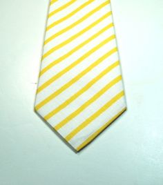 Custom Yellow Stripe Skinny Cotton Mens Neckties   by tuxandtulle, $26.00