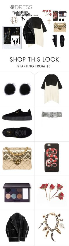 """""""TWO-Toned Dresses"""" by pandatheod ❤ liked on Polyvore featuring The Elder Statesman, Puma, Chanel, Gucci, Laura Mercier, H&M, Pamela Love and Sydney Evan"""