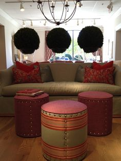 A perfect trio of upholstered ottomans by @Wesley Hall provides both color and whimsical flavor to any room. I'm a huge fan of horizontal striping for a fresh modern look! 310 N. Hamilton S-106 #HPMKT