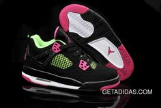 82c54a339e9e Air Jordans 4 Pink Black White Green TopDeals