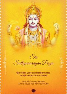 Satyanarayana Swamy Pooja Invitation Houswarming
