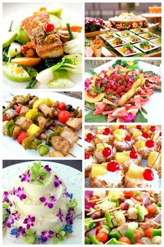 elegant food presentation for luau wedding