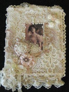 Edwardian Style Mixed Media Fabric Journal Album Book Ribbonwork and Laces | eBay