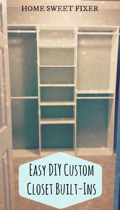 ➸ EASY DIY CUSTOM CLOSET BUILT-INS ➸   It is so easy to take your closet from messy and inefficient to custom-built and gorgeous! With just some pre-painted shelves, hanging rods and some screws you can have a beautiful place to organize and show off your clothes and shoes  in a weekend or less! See how we did it in just a day!  www.HOME-SWEET-FIXER.com