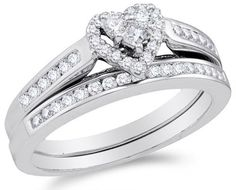 10k White Gold Diamond Ladies Bridal Engagement Ring with Matching Wedding Band Two 2 Ring Set - Halo Heart Shape Center Setting w/ Channel Set Princess Cut & Round Diamonds - (.50 Cttw) $475.00    This is a beautiful ring.