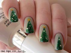 Wanna go hard in the Christmas spirit department this year? I've got just the thing!Check out these adorably festive Christmas Tree nails! Start by painting your fingernails a fairly light nude co...