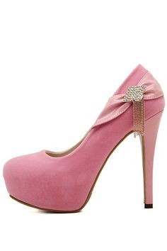 Pink Faux Suede Rhinestone Tassel Pump Heels #Pink #Heels #maykool