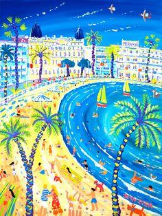 Fun Festival, Cannes 24 x 18 inches, acrylic on canvas 61 x 45 cm, acrylique sur toile Cannes, John Dyer, Naive Art, Beach Art, Martini, Summer Time, Graphic Art, Original Paintings, Puzzle