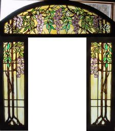 3pc Antique American Stained Glass Wisteria entry surround  fid8026a-c