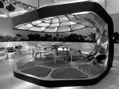 Zaha Hadid designs Volu dining pavilion for Design Miami Zaha Hadid Design, Form Architecture, Interior Architecture, Organic Architecture, Prefabricated Houses, Prefab Homes, Kiosk, Yacht Design, Design Miami