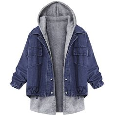 Women Casual Loose Batwing Sleeve Twinset Hooded Denim Jacket... (€24) ❤ liked on Polyvore featuring hooded denim jacket, blue jean jacket, blue denim jacket, hooded jean jacket and long sleeve coat