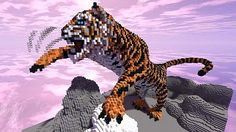 Awesome giant tiger built in Minecraft! Minecraft Bauwerke, Minecraft Kunst, Minecraft Statues, Amazing Minecraft, Minecraft Construction, Minecraft Blueprints, How To Play Minecraft, Cool Minecraft Creations, Minecraft Designs