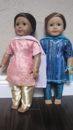 AG Doll, Grace and Emma modeling Indian Punjabi dresses I made for a friend's daughter.