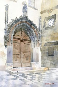 Grzegorz Wróbel; beautiful watercolors--I first posted this on another board thinking it was an actual church, then realized it was real art, incredible. Now must be pinned on my art board. Beautiful!