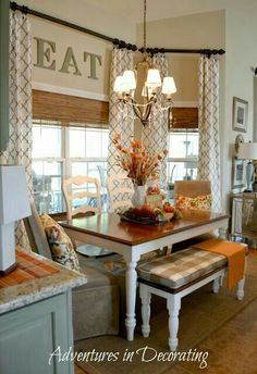 kitchen bay window treatments drapes curtains for with radiator dining room seat pleasant toile in the family master bedroom sanctuary how to decorate ledge design ideas Kitchen Nook, Kitchen Redo, New Kitchen, Kitchen Remodel, Fall Kitchen Decor, Kitchen Banquette, Kitchen Tables, Design Kitchen, Kitchen Colors