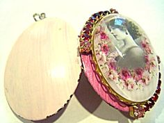 $69 2.5mm ruby red rhinestones, 4mm pink rhinestone accents around a glass cabochon cameo depicting a beautiful lady with pink and red roses.  T...