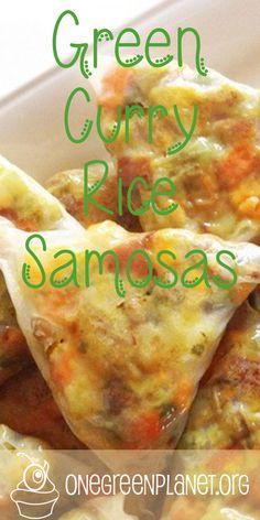 Green Curry Rice Samosas [Vegan] @desrochesc http://www.onegreenplanet.org
