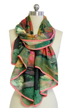 Green Multicolor Abstract Watercolor Scarf on HauteLook