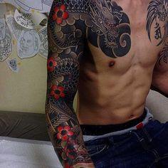 Japanese tattoo sleeve by @horitaka_tattoo. #japaneseink #japanesetattoo #irezumi #tebori #colortattoo #colorfultattoo #cooltattoo #largetattoo #armtattoo #chesttattoo #tattoosleeve #dragontattoo #flowertattoo #cherryblossomtattoo #blackwork #blackink #blacktattoo #wavetattoo #naturetattoo