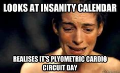 Looks at insanity calendar Realises it's plyometric cardio circuit day Insanity 60 Day Workout Challenge Workout Memes, Gym Memes, Gym Humor, Insanity Workout, Cardio, Insanity Calendar, Motivational Memes, Loss Quotes, Plyometrics