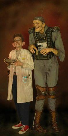 thomas kuebler frankenstein monster mad scientist crazy freak show life size sculpture