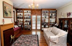 Office or library in 200-year-old home. Includes built-in bookshelves, fireplace.