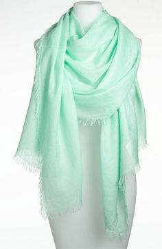 Cashmere Blend Eyelash Wrap Womens Green Mist