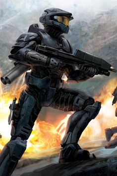 View an image titled 'Combat Promotional Art' in our Halo 3 art gallery featuring official character designs, concept art, and promo pictures. Halo 3, Halo Game, Halo Spartan, The Master Chief, Video Game Art, Video Games, Science Fiction, Halo Armor, Halo Series