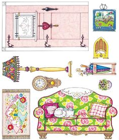print on sticker paper and cut out to stick on handmade cardboard dollhouse -- Mary Engelbreit printable (+furnitures to fold) Paper Furniture, Doll Furniture, Dollhouse Furniture, Furniture Ideas, Paper Doll House, Paper Houses, Cardboard Dollhouse, Dollhouse Miniatures, Paper Art