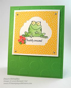 hand crafted card:You're Sublime card with Note Tag Punch Trick shared by Dawn Olchefske #dostamping #stampinup ... luv the green and yellow combo, punny sentiment and adorable toad ...
