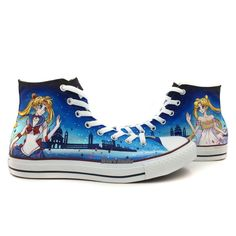Sailor Moon Queen Serenity Anime Shoes Unisex Converse Hand Painted All Star Blue Chuck Taylor High Top Canvas  sailor moon sailormoon queen serenity princess serenity anime manga otaku converse chuck taylor high top usagi usagi tsukino painting painted original hand painted fashion punk otaku fashion cute kawaii pretty awesome this is why im broke this is why i'm broke all star #anime #cosplay #costume #otaku #gamer #videogames