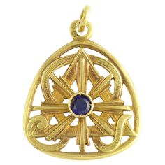 18k Gold French Art Deco Sapphire Pendant Charm from Adorn at RubyLane.com
