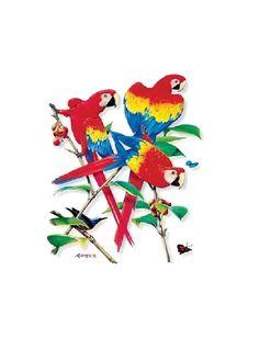 Scarlet Macaw Parrot Exotic Bird T SHIRT, Sweatshirt, Quilt Fabric Block  Item no. 208a by AlwaysInStitchesCo on Etsy