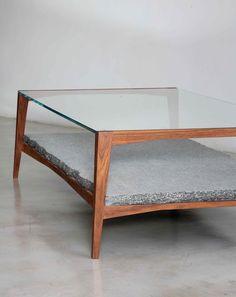 Bridge Coffee Table in Walnut, Optical White Glass and Granit - by Leonard de Villiers for EBONY.