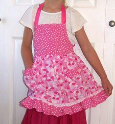 Pink Flamingo Child Apron Girls Ruffled Flamingo Apron with | Etsy
