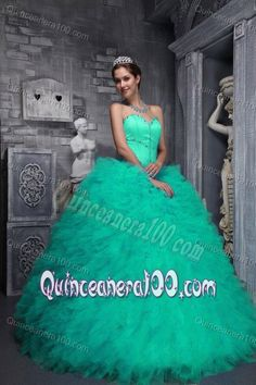 Ruffled Apple Green Sweet 15 Dress with Beads Decorate