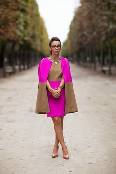 I love the fluoro pink and camel combo :: Magdalena - Stockholm Streetstyle