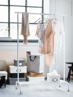 A rolling clothing rack, like RIGGA, is great for storing out of season clothing or for helping to transport clothing and bedding from the laundry room to the bedroom. Or, if you really want to be organized, you can use a clothing rack to hang up a week's worth of outfits so that all you have to do is get dressed!