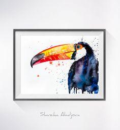 Original Watercolour Painting Toco Toucan art animal by SlaviART