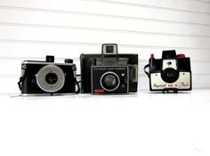 Vintage Camera Collection Kodak Duex Polaroid Square Shooter Imperial Mark XII Three Vintage Cameras