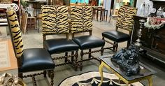 """Set of Four Henry II Style Barley Twist Chairs  18.5"""" Wide x 17"""" Deep x 45"""" High  Seat Height 19.5""""  $1800 Set of four  Treasured and collected antiques for your home.  My Treasured Antiques Dealer #2612  White Elephant Antiques, Dallas 1026 N. Riverfront Blvd. Dallas, TX 75207"""