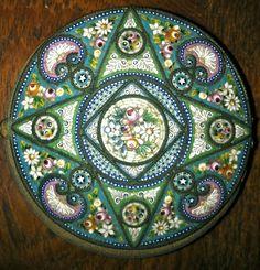 Antique micro mosaic | Antique Italian Micro Mosaic Pill Box | mosaic/tiles