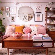 Cute Pastel Living Room Design Ideas That You Should Have 52 Pastel Living Room, Boho Living Room, Home Living, Apartment Living, Living Room Decor, Bright Apartment, Living Rooms, Home And Deco, West Elm