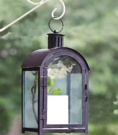 massive outdoor metal lanterns | ... Black Metal Glass Decorative Garden Pillar Candle Lantern from Hosley