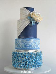 """Blue """"Dara"""" cake design by Rick Reichart, cakelava. www.cakelava.com"""
