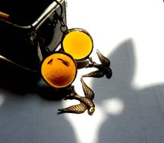 Amber Glass Jewel Earrings With Swooping Swallow by AfricanSand on Etsy