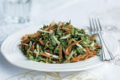 Coconut, carrot and spinach salad. Photographed by Will Heap
