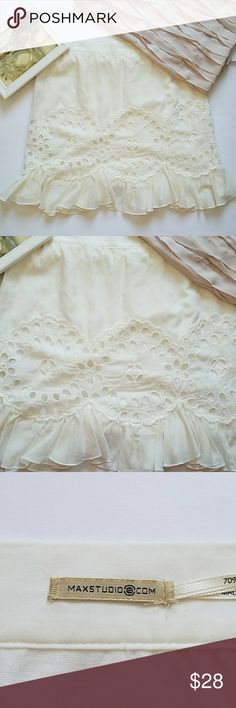 Maxi studio white ruffle mini skirt Super sweet and comfortable mini skirt , 70% cotton 30% silk, clean and good  used condition,  no stain no hole. Inseam: 17 inch. pic8 show a little bit pen Mark. Overload, very good used condition. Max Studio Skirts Mini