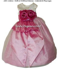 Rose Pink and Ivory Satin Flower Girl Dresses Style 350 by Pegeen